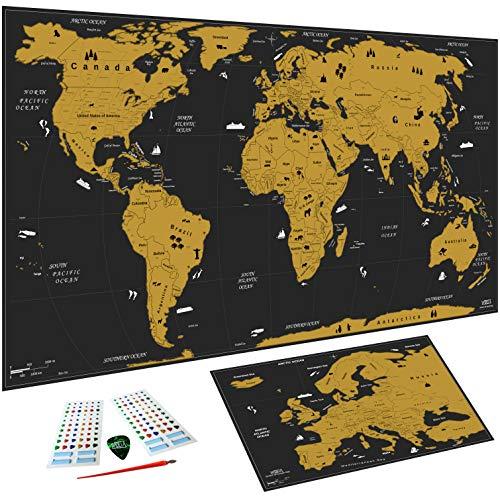 WIDETA Weltkarte zum Rubbeln XXL (82 x 43 cm)/ Bonus Karte von Europa, Rubbelwerkzeuge, 3D Aufkleber und Geschenkverpackung