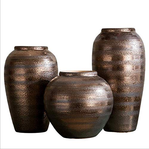 ZKDY Plant Pot European Clay Pot Stoneware Suitable For Villa Living Room Ceramic Earthenware Pot Vase Living Room Flower Arrangement Artificial Flower Ornament Handmade Plant Containers