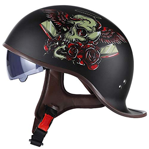 MOMOJA Retro Motorcycle Open Half Helmet Brain Cap Half Shell Helmet Vintage Pilot Biker with Drop Visor for Cruiser Chopper Scooter Scooter Biker DOT Approved E,M(57-58cm)
