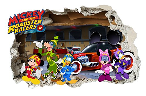 g?ant Mickey et le Roadster Racers Sticker mural chambre d'enfant, Disney Mickey Mouse, Minnie Mouse