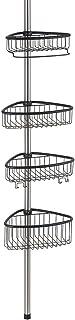 InterDesign 縦型 突っ張り棒 伸縮棒 シャワー コーナー 三角 バスケット付き ポール Forma ブラック 42862EJ
