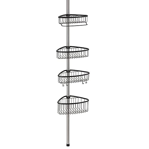 InterDesign Forma Bathroom Corner Steel Shower Caddy, Matte Black
