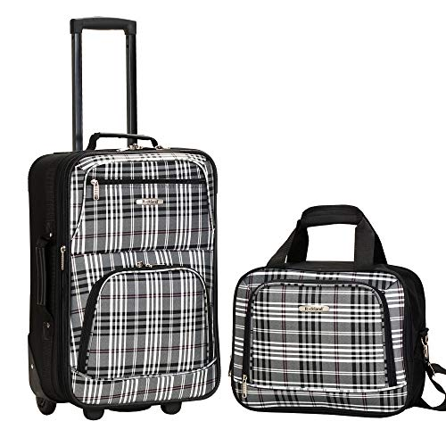 Rockland Fashion Softside Upright Luggage Set, Black Plaid, 2-Piece (14/20)
