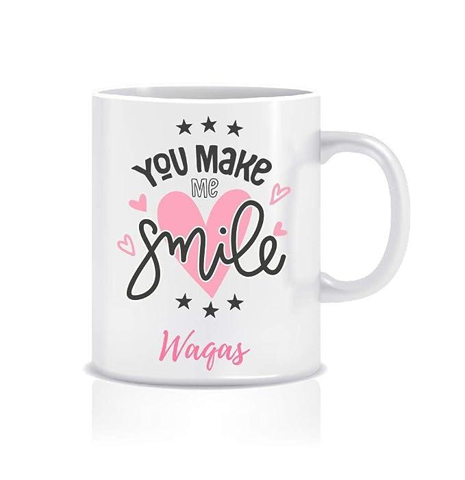 WeChitr Coffee Mug for Waqas Personalised Name Ceramic, 350ml