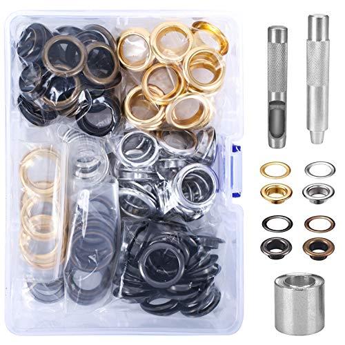HO2NLE 100 Ensembles Oeillets 16mm Kit de Grommets Eyelets Outils Metal Grommet Kit Oeillet avec Outils Oeillet pour Toile Bâche Tente de Réparation Bronze Argent Or Noir