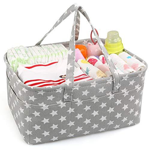 LinStyle Cesta para pañales de bebé, Pañalera, Bolsa organizadora para pañales de bebé Organizador Portátil para Cambiar Pañales cesta de regalo para recién nacidos para pañales y toallitas