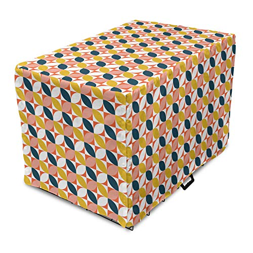 """Lunarable Mid Century Modern Dog Crate Cover, Flower Petals Divided in Squares, Easy to Use Pet Kennel Cover for Medium Large Dogs, 35"""" x 23"""" x 27"""", Multicolor -  cra_92572_xl"""
