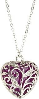 Purple Glowing Heart Necklace Purple Glowing Heart 925 Silver Glow Pendant