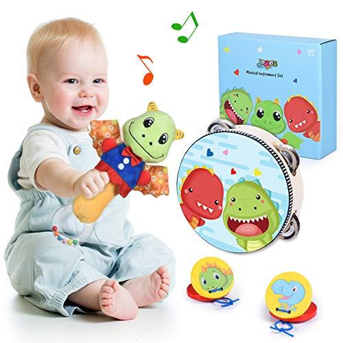 Joyjoz Instrumentos Musicales Bebé Sonajeros Niños Tambor Infantil Juguetes Musicales de Madera Castañuelas Bateria Musical para Bebés Niños Recién Nacidos 3 Meses+