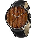 Trek Woodwear Luxury Men's Alouette Wrist Watch - Premium Genuine Leather (Black)