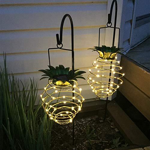 LQQZZZ Luces LED Solares En Forma De Piña, Jardín Impermeable Al Aire Libre Luces Solares para Jardín Luces De Pared De Decoración De Guirnaldas Cálidas para Patio, Jardín, Paseo 2 PCS