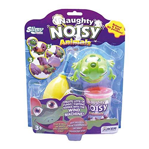 Slimy Naughty Noisy Animals 200g Frosch | Lustige Sammelfiguren zum Füllen mit Original Slimy Spielmasse | freche Pupsgeräusche und Slimy-Blasen