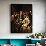 Sadhaf famosas reproducciones de pintura al óleo matrimonio desigual en lienzo impresión arte sala de estar hogar vacaciones decoración a6 70x100 cm