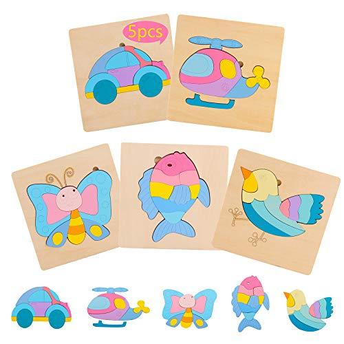 HVDHYY Puzzles de Madera Juguetes Montessori Puzzles Educativos Infantiles de Animales Auto Rompecabezas 5Piezas Pez Pájaro Mariposa Coche Helicóptero para 2-6 Niños Niñas Navidad Cumpleaños Regalo