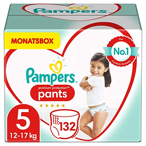 Pampers Größe 5 Premium Protection Baby Windeln Pants, 132 Stück, MONATSBOX, Weichster Komfort Und Schutz (12-17kg)