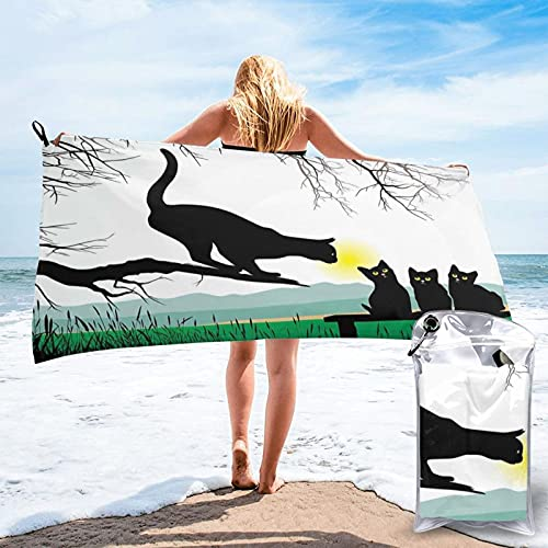 Microfiber Beach Towel,Mother Cat On Tree Branch and Baby Kittens in Park Best, Quick Dry Super Absorbent Lightweight Oversized Large Towels Blanket for Travel Pool Swimming Bath Women Men