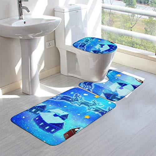 Wrution - Alfombra de baño con diseño de Papá Noel y Casas de Papá Noel y Casas (3 Piezas), diseño de Papá Noel y Casas