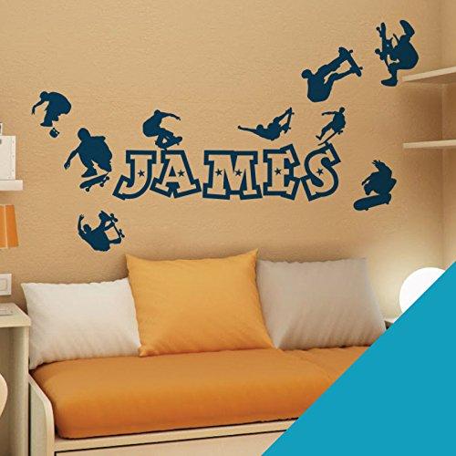 Nom personnalisé garçons Stickers muraux – patineurs, Skateboard, parc, Skate – [seulement nous envoyer un message avec le nom.], bleu ciel, Large (950x290mm)