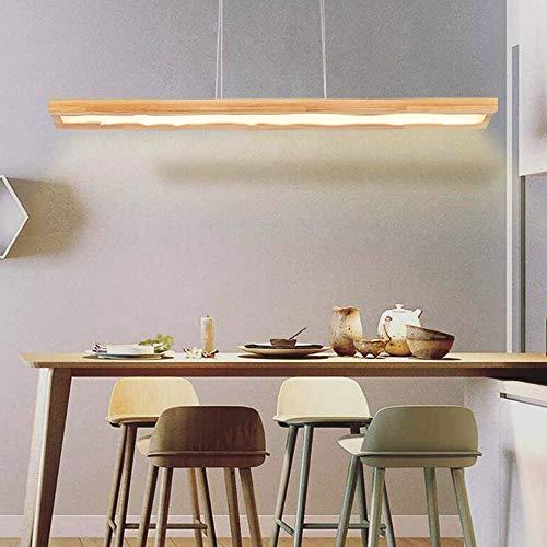 Lámpara Colgante LED Regulable Lampara De Araña Madera Lámpara De Mesa De Comedor Moderna Altura Ajustable Lámpara Colgante De Techo Para Cocina Oficina Sala De Estar Comedor Luz Interior
