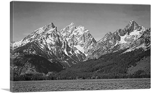 ARTCANVAS Snow Covered Peaks - Grand Teton National Park - Wyoming Canvas Art Print by Ansel Adams - 40  x 26  (0.75  Deep)