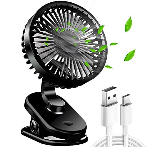 QIANQI Mini Ventilator - Klein Tischventilator USB Ventilator Leise Clip-Ventilator 5000mAh mit 270°drehbar und 3 Geschwindigkeitsstufen für Schlafzimmer, Büro, Kinderwagen, Klassenzimmer