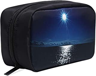 Super Full Moon At Night Over Ocean Portable Travel Makeup Cosmetic Bags Organizer Multifunction Case Small Toiletry Bags For Women And Men Brushes Case
