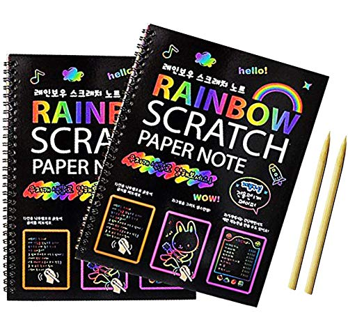 Scratch Art books for Kids (10'7.5 ') Scratch Art Paper Large Black Magic Rainbow Painting Boards 2 Colorful Notebooks with 2 Wooden Stylus! for Ages 3-11 Years Girls or Boys