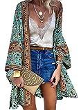 CORAFRITZ Kimono de gasa para mujer, estilo vintage, con estampado bohemio, manga larga, para playa, túnica de playa, vestido de protección solar