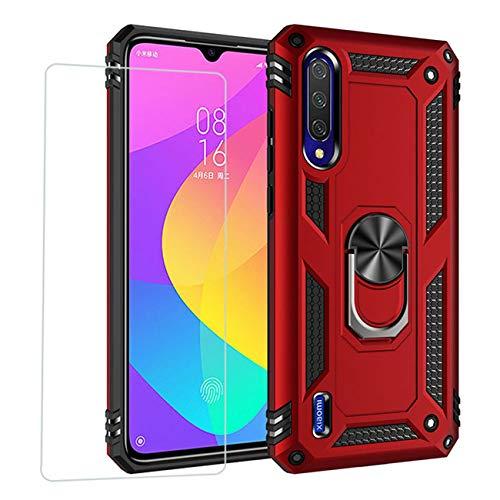 Joytag compatibles para Funda Xiaomi Mi 9 Lite,Carcasa +Cristal Templado Silicona TPU 360 Grados Anillo Giratorio magnético Soporte Caja del teléfono del Coche-Rojo