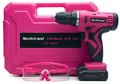 Nordstrand Pink Cordless Drill Set - Electric Screwdriver Power Driver Kit for Women - 12V Rechargeable Li-Ion Battery - Starter Tool Box for Ladies with Storage Case, Bits, Drills & Safety Glasses