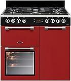 Leisure CK90F324R four et cuisinière Noir, Rouge Gaz - Fours et cuisinières (Cuisinière, Noir, Rouge, Boutons, Rotatif, Devant, Gaz, Arrière gauche)