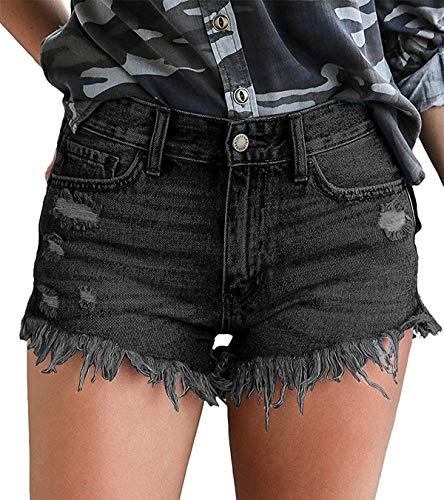 KISSMODA Pantalones Cortos de Jean Ajustados con Cintura Alta y Dobladillo Crudo, para Mujer Negro Negro (L