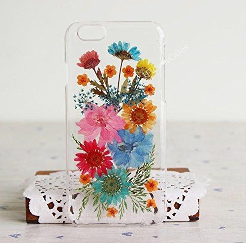 Funda rígida transparente transparente para Samsung S6 con diseño de flores prensadas para Samsung S6 y Samsung Galaxy S6