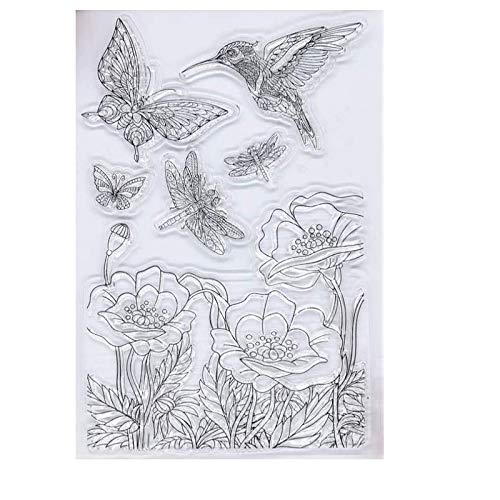 WooYangFun Craft 1pcs Floral Tree Hummingbird Clear Stamp for Card Making Decoration and Scrapbooking 11x15cm