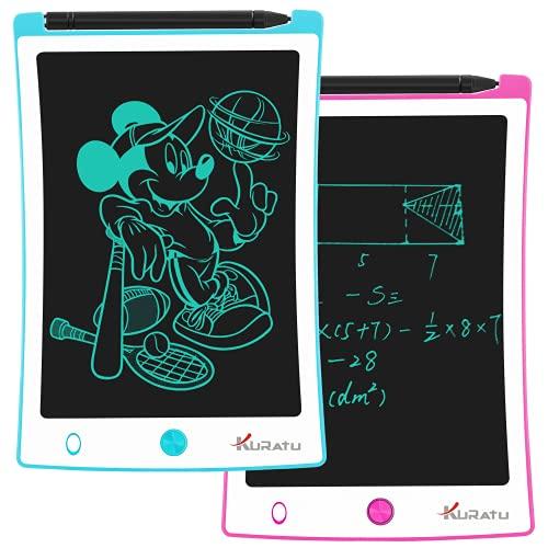 KURATU LCD Writing Tablet 2 pack 8.5 Inch Electronic Drawing Pads, Portable Reusable Erasable Ewriter Elder Message Board, Digital Handwriting Pad Doodle Board for School, Fridge or Office,(blue/pink)