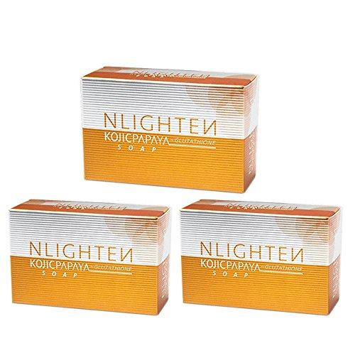 THREE (3) NLIGHTEN KOJIC PAPAYA AND GLUTATHIONE SOAP BARS by NWORLD