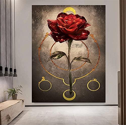 5D DIY Pintura de Diamante de Kits Flor rosa roja Completo Crystal Rhinestone Adulto Sniño de Punto de Cruz Embroidery Art Decoración de la Pared del Hogar Diamond Painting Regalo Round Drill 45x60cm
