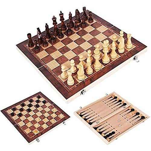 MIAOXIAO Holz Schach Set Faltbare Schachbrett Design 3 in 1 Backgammon Checkers Reisespiele International Chess Unterhaltung für Kinder Erwachsene Familienspiel,34 * 34cm
