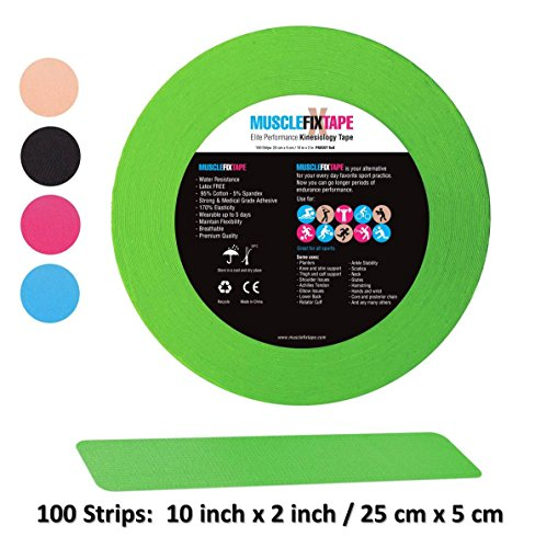 Green Kinesiology Tape Precut Roll - Bulk Jumbo Clinical Size Recovery Sports Athletic Injury Therapeutic Support PRO Physio Therapy (100 Strips: 10 in x 2 in / 25cm x 5cm) kt rocktape rock-tape rock