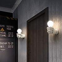 E27 * 1,15 * 9CM壁ランプ - クリエイティブ壁ランプ、レトロ工業スタイル、右手拳は樹脂材料、暖かいライト、ブラック、ホワイトた形状、 (Color : White)