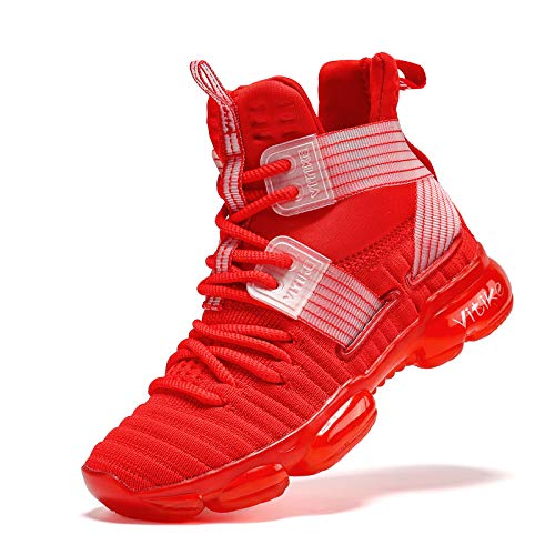 JMFCHI FASHION Kids Basketball Shoes Boys Outdoor Sneakers Girls Indoor Training Shoes High-top Boy Sports Shoes Durable Non-Slip Kid Running Shoe Red Size 5