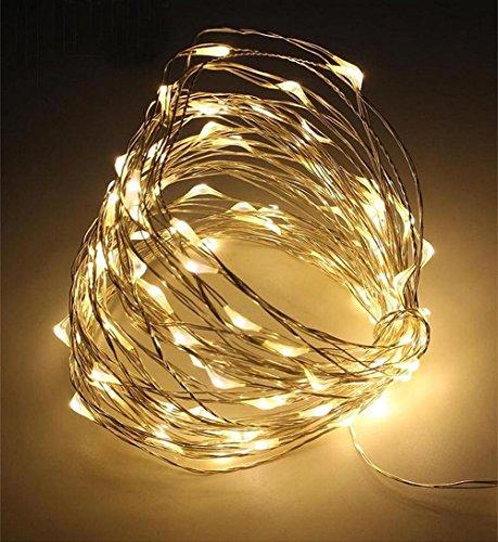 ✽ZEZKT-Home✽ Lichterkette Weihnachten, 10M 100leds Kupferdraht Lichterkette bunt Garten Außen Warmweiß Weihnachten Deko Wasserdichte Aussen Sternen Lichterkette Mehrfarbig (Gelb)
