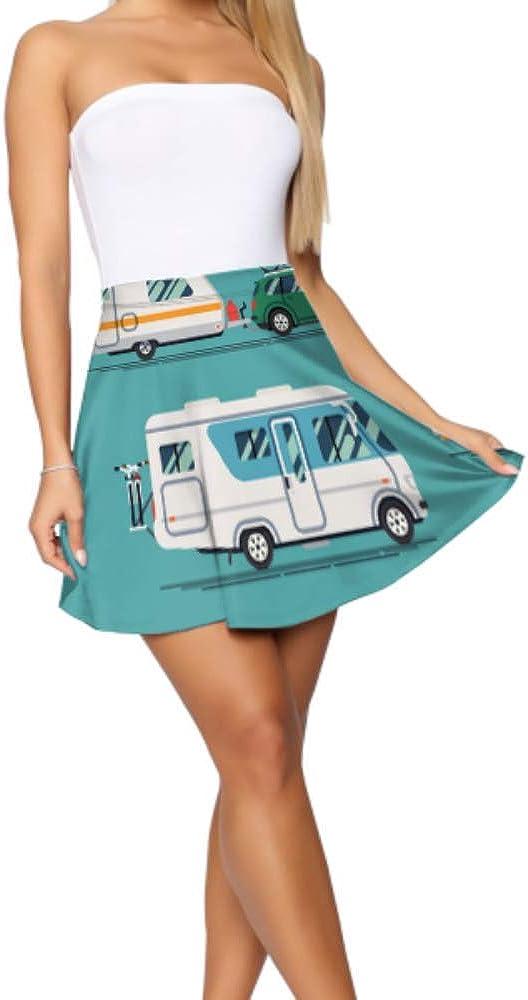 Mini Skirt for Teen Girls Big White and Red Campers Mini Flare Skirt Women's Basic Casual Flare Skirt for Women S-XL