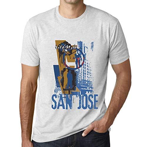 One in the City Hombre Camiseta Vintage T-Shirt Gráfico San Jose Lifestyle Blanco Moteado