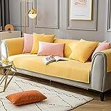 Cubierta Modular del sofá de la Chenilla,Funda De Sofá para Mascotas Perro,Composable Antideslizante Resistente Anti-Suciedad Sofá Cubierta,para sofás de Cuero,Amarillo_70×70cm
