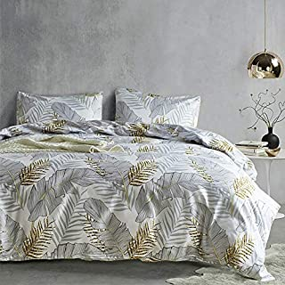 Duvet Cover King Floral White Hotel Bedding Sets with Soft Lightweight Microfiber 1 Duvet Cover and 2 Pillow Shams (King, Banana Leaf)