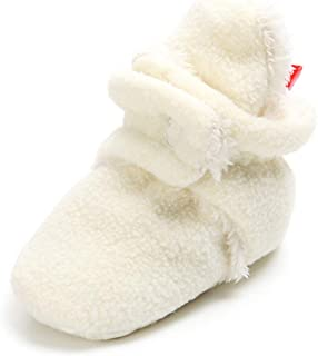 TIMATEGO Newborn Baby Boys Girls Cozy Fleece Booties with Grippers Stay On Slipper Socks Infant Toddler Crib Winter Shoes for Boys Girls