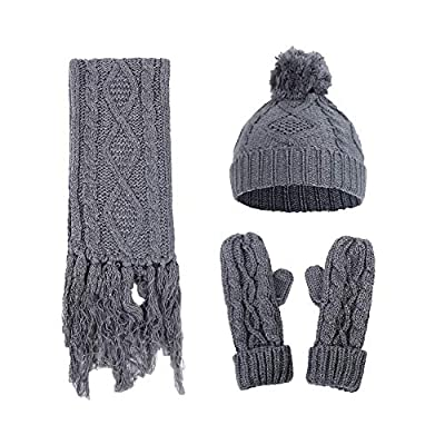 Indeals Women Crochet Knit Caps Scarf Gloves Suit Hat Fur Woolen Thick Knitted Casual Winter Wearing for Outdoor Travel