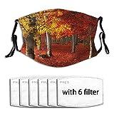 Popsastaresa Herbstliche Waldumgebung,Staubwaschbarer wiederverwendbarer Filter und wiederverwendbarer Mundschutz gesicht mit 6 Filtern