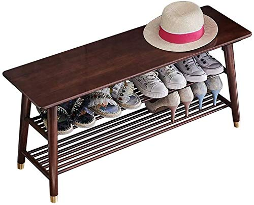 aipipl Home Mall- Banco de Zapatos de Madera de Roble, Zapatero de 2 Niveles, para Pasillo de Entrada 4